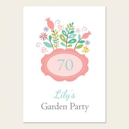 70th Birthday Invitations - Summer Flowers Garden Party