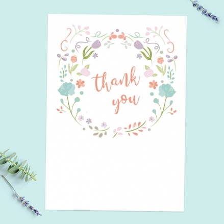 Thank You Cards - Summer Pastel Flowers - Pack of 10