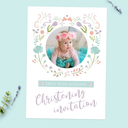 Christening Invitations - Summer Pastel Flowers - Use Your Own Photo - Pack of 10