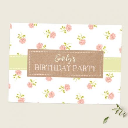 Kids Birthday Invitations - Summer Roses - Pack of 10