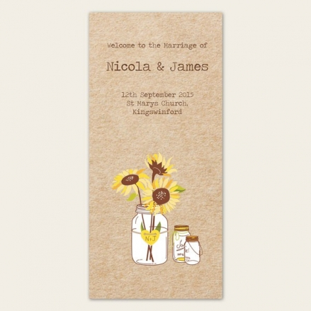 Rustic Sunflowers - Order of Service Concertina