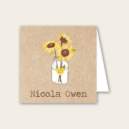 Rustic Sunflowers - Wedding Place Cards