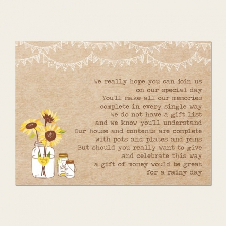 Rustic Sunflowers - Gift Poem Cards
