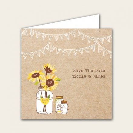 Rustic Sunflowers - Save the Date Cards