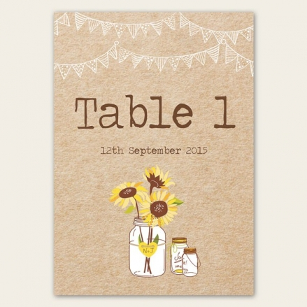 Rustic Sunflowers - Table Name/Number