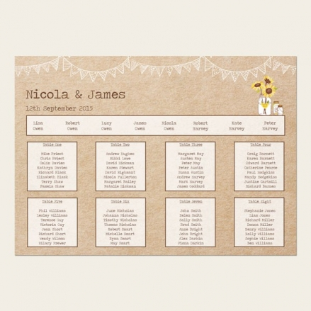 Rustic Sunflowers - Table Plan