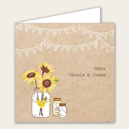 Rustic Sunflowers - Wedding Menus