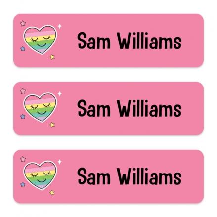 Medium Personalised Stick On Waterproof (Equipment) Name Labels - Rainbow Heart - Pack of 42