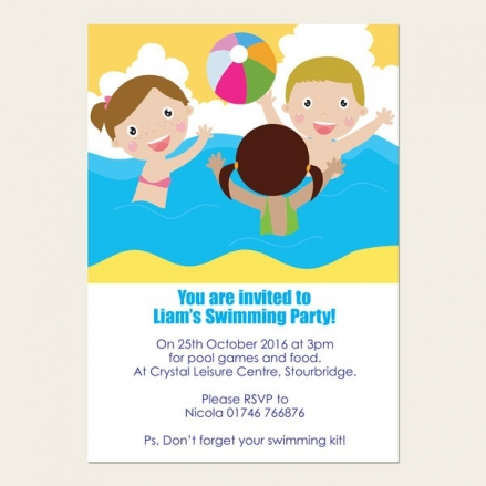 Personalised Kids Birthday Invitations - Swimming Party - Pack of 10