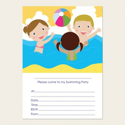 Ready to Write Kids Birthday Invitations - Swimming Party - Pack of 10