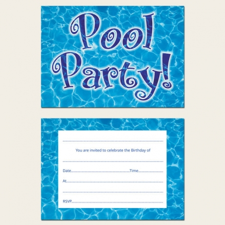 Ready to Write Kids Birthday Invitations - Swimming Pool Party - Pack of 10