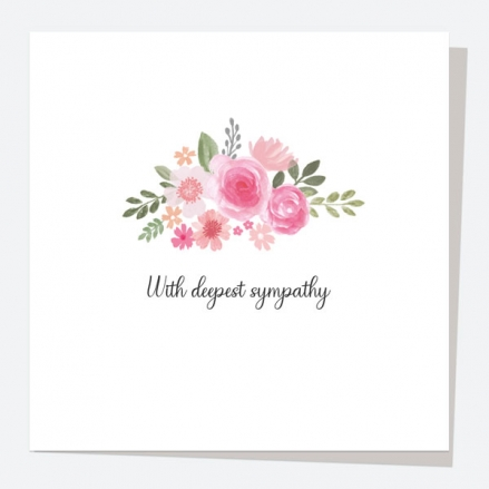 Sympathy Card - Painted Flowers - Rose Mix - With Deepest Sympathy