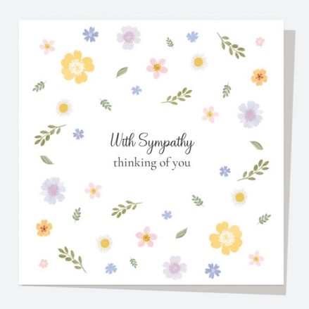 Sympathy Card - Painted Flowers - Scattered - With Sympathy