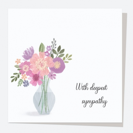Sympathy Card - Painted Flowers - Vase - With Deepest Sympathy