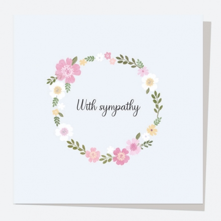 Sympathy Card - Painted Flowers - Wreath - With Sympathy