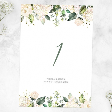 white-flower-garland-table-name-number