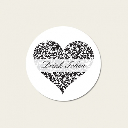 Heart Pattern - Drink Tokens - Pack of 30