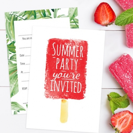 Ready To Write Kids Birthday Invitations - Summer Party, Ice Lolly - Pack of 10