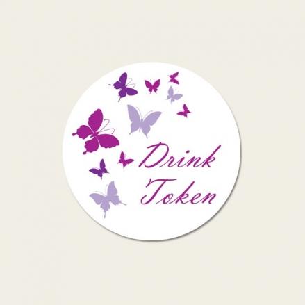 Summer Butterflies - Drink Tokens - Pack of 30