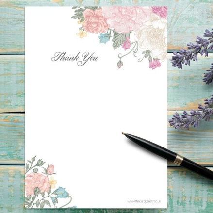 Vintage Flowers - Thank You Notelet - Pack of 20