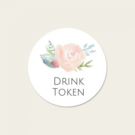 Watercolour Roses - Drink Tokens - Pack of 30