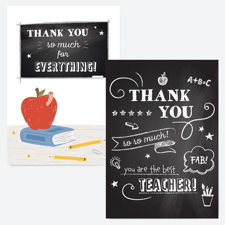 Chalkboard Doodles Teacher Thank You Cards - Mixed Pack of 6