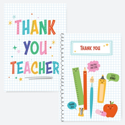 Cute Stationery Supplies Teacher Thank You Cards - Mixed Pack of 6