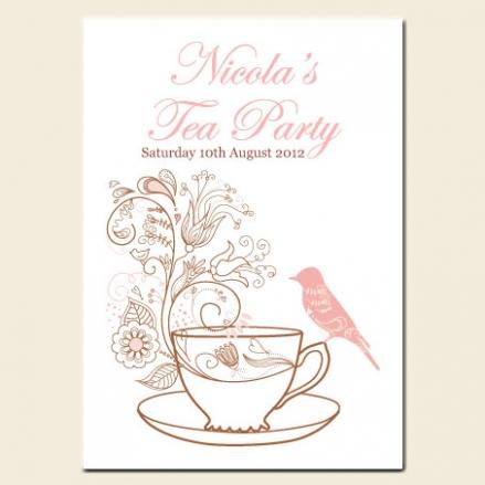 Tea Party Invitations - Teacup and Bird
