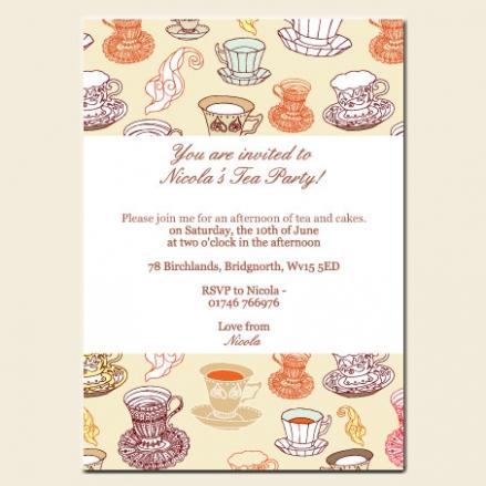 Tea Party Invitations - Teacup Pattern