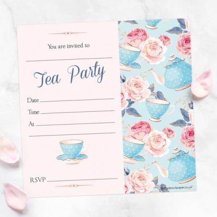 Tea Party Invitations - Teapots & Roses