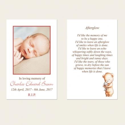 Funeral Memorial Cards - Teddy & Bunny