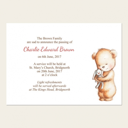 Funeral Announcement Cards - Teddy & Bunny