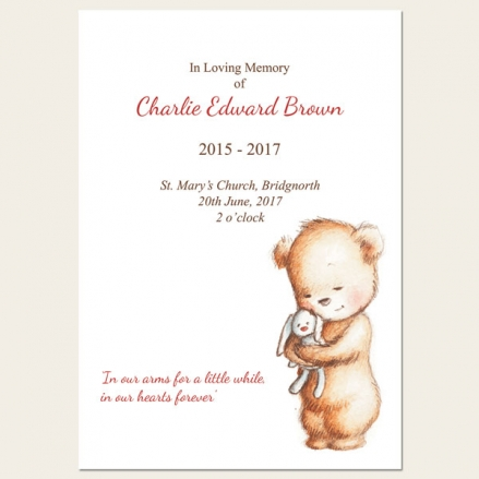 Funeral Order of Service - Teddy & Bunny