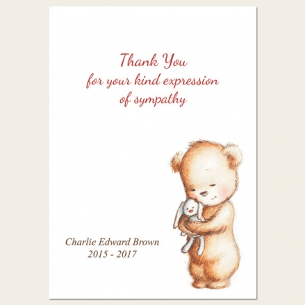 Funeral Thank You Cards - Teddy & Bunny