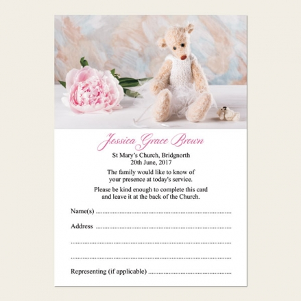 Funeral Attendance Cards - Teddy & Peony