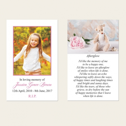 Funeral Memorial Cards - Teddy & Peony