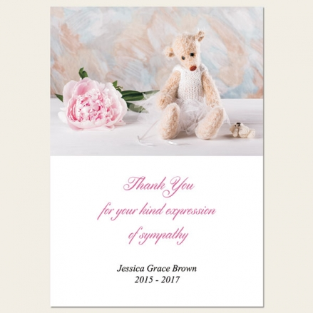 Funeral Thank You Cards - Teddy & Peony
