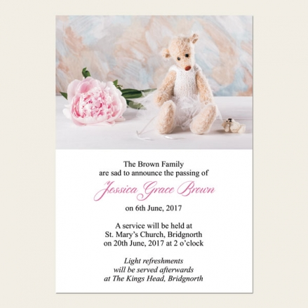 Funeral Announcement Cards - Teddy & Peony