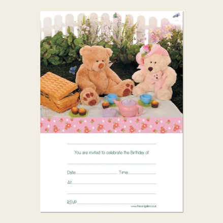 Ready to Write Kids Birthday Invitations - Teddy Bears Picnic - Pack of 10