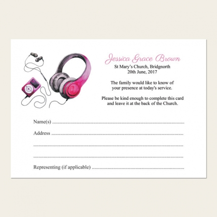 Funeral Attendance Cards - Teenage Girl Music