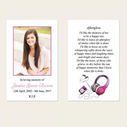 Funeral Memorial Cards - Teenage Girl Music