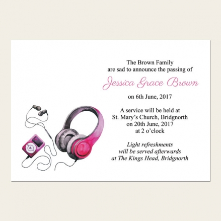 Funeral Announcement Cards - Teenage Girl Music