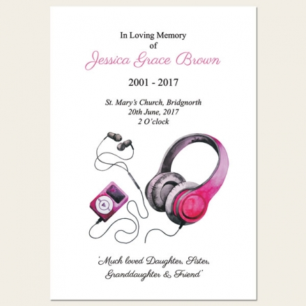 Funeral Order of Service - Teenage Girl Music