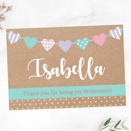 Thank You For Being My Bridesmaid - Heart Bunting
