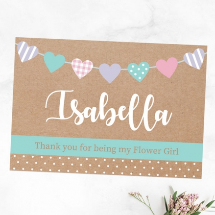 Thank You For Being My Flower Girl - Heart Bunting