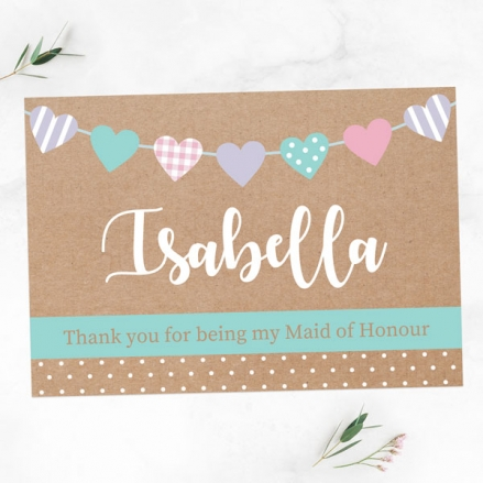 Thank You For Being My Maid of Honour - Heart Bunting