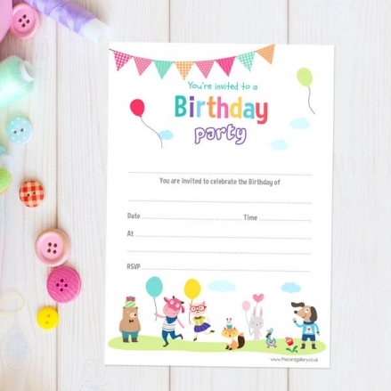 Kids Party Animals - Notelet Invitation - Pack of 20