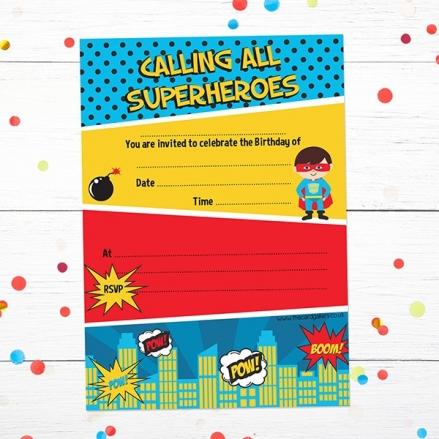 Ready To Write Kids Birthday Invitations - Comic Superhero - Pack of 10