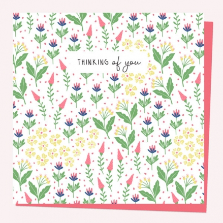 Thinking of You Card - Ditsy Bright Blooms
