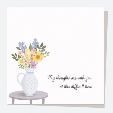 Thinking of You Card - Painted Flowers - Jug - My Thoughts Are With You